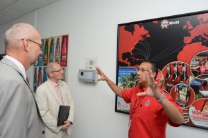 Banks Breweries chief commercial officer Ray Chee-A-Tow explaining aspects of the brewery's operations to EU Ambassador Mikael Barfod (left) and the head of the EU's Political, Trade, Regional Integration and Press Section, Claude Bochu.
