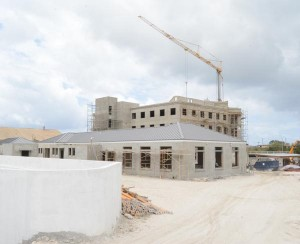 The future home of the Barbados Water Authority under construction at The Pine, St Michael.