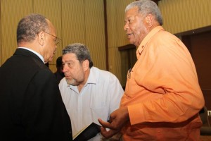 From left, LIAT chairman Jean Holder and shareholder government leaders Ralph Gonsalves (centre) and Baldwin Spencer at today's Press conference.