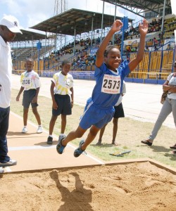 Jarme Roach is all smiles and confidence during the standing broad board jump.