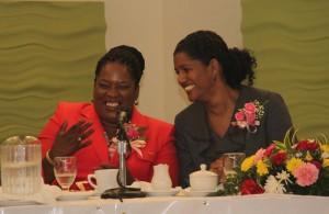 President HRMAB Glenda Gilkes shares a laugh with Minister Senator Dr Esther Byer-Suckoo