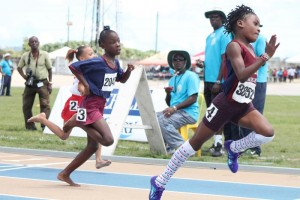 Samiya Dell of Sharon Primary was a clear winner in the under-nine girls' 80M ahead of Ciara Piggott of St Stephen Primary and Krissaria Balantyne of Cuthbert Moore.