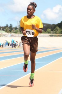 Sarah Belle of St George Primary cruising to victory in the open girls 600M.