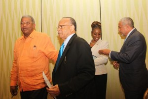 From left, Antigua's Prime Minister Baldwin Spencer, LIAT board chairman Dr Jean Holder, Barbados' parliamentary secretary in International Transport Senator, Irene Sandiford-Garner, and Antigua's International Transport Minister John McGinley chatting after the Press conference.