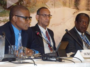 From left, panellists Ian Durant of the Caribbean Development Bank; Damien King of the Caribbean Policy Research Institute; and Sir Dennis Byron, president of the Caribbean Court of Justice.