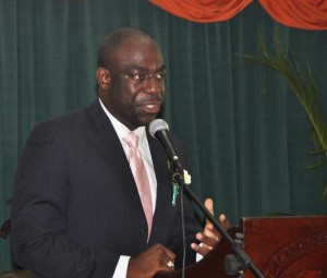 Ryan Blackett, director of cruise tourism at the Barbados Tourism Authority, delivering the featured address at the Frederick Smith Secondary School Speech Day And Prize-Giving Ceremony this morning.