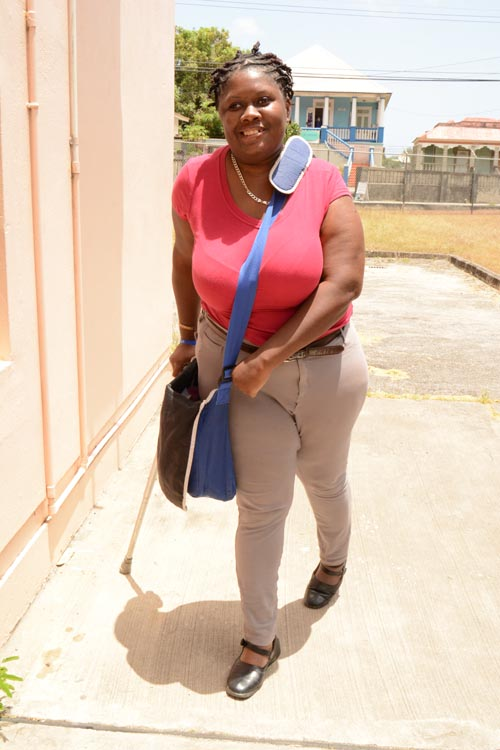Nasiya making her way around the Barbados Community College.
