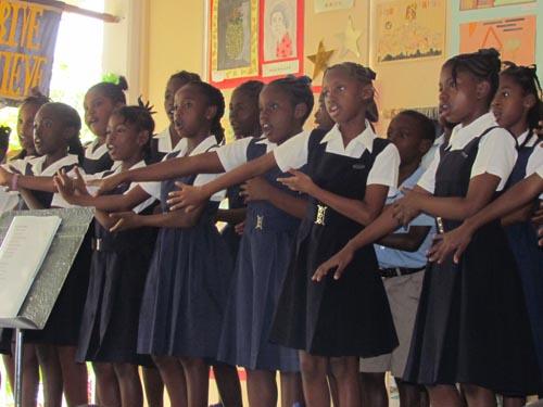 The Roland Edwards School choir singing Joyful Joyful