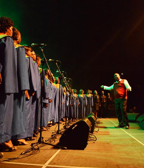 The Barbados Gospelfest Mass Choir led by Lester Welch.