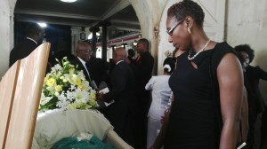 Daughter Angela (seen here viewing Titus' body) paid glowing tribute to her mother.