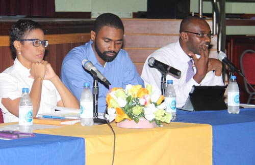 From left, Lisa Cummins, director of Barbados Coalition  of Services Industries, economist Jeremy Stephen and Dean  of Social Studies at the Cave Hill Campus, Dr Justin Robinson.