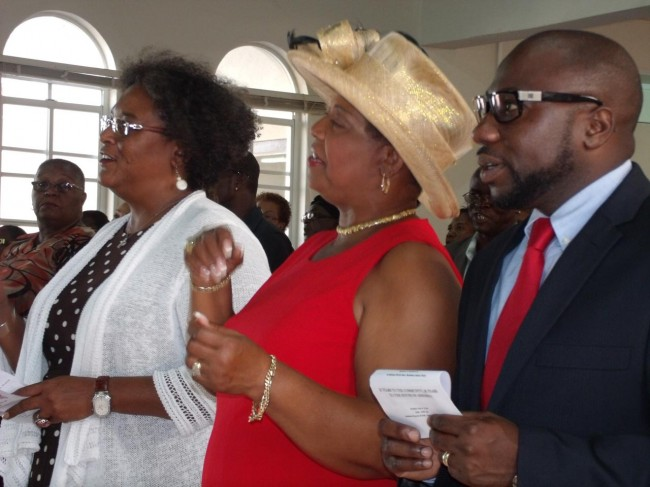 From left, BLP Leader Mia Mottley; St Thomas MP Cynthia Forde; and St George South MP Dwight Sutherland.