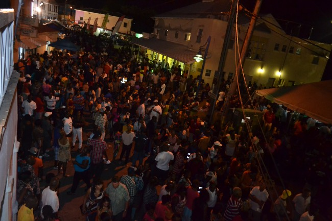 A large crowd gathered in Speightstown last night.