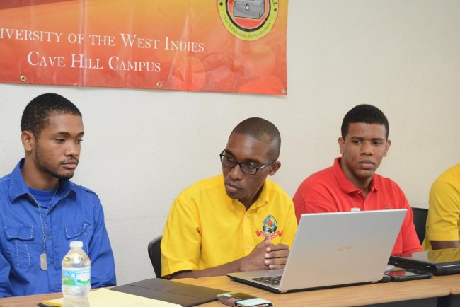 Damani Parris (centre), president of the University West Indies Guild of Students, Javon Webster (left), president of the Barbados Student Association in Trinidad and Tobago and Saashen Sealy, president of the Barbados Student Association of Jamaica during today's Press conference at the Cave Hill Campus.