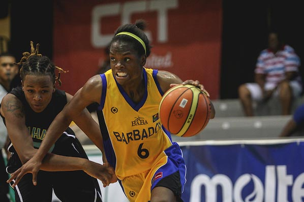 Dale-Marie Cumberbatch driving to the basket during this evening's game against The Bahamas.