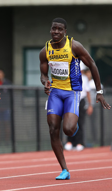 Barbados' Levi Cadogan had to settle for fourth place in the 100m final last night.