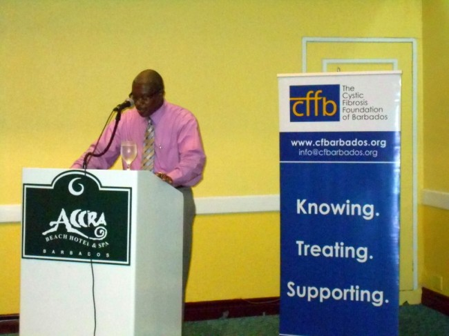 President of the Cystic Fibrosis Foundation of Barbados Michael Turton addressing the Foundation's agenda for 2014.