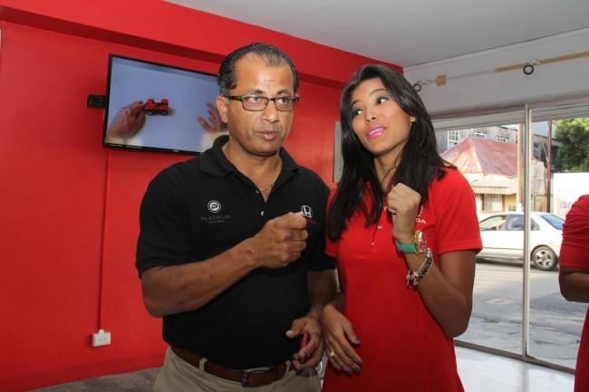 Chairman of Platinum Motors Inc. Peter Harris (left) and regional Honda brand ambassador Natasha Chang.