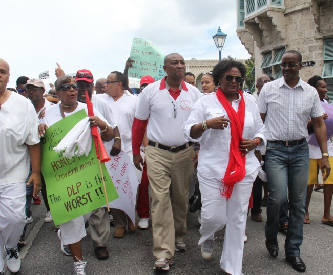 Opposition Leader Mia Mottley along with