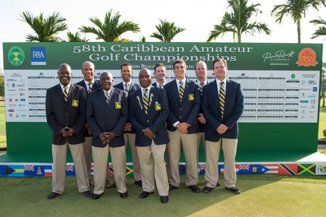 Golf team (from left) Elvis Medford, Cally Boyea, Ricky Skeete, Julian Jordan, Robert Piggott, Marcus Clarke, Simon Proverbs, James Johnson, Roger Beale Jr. (manager).