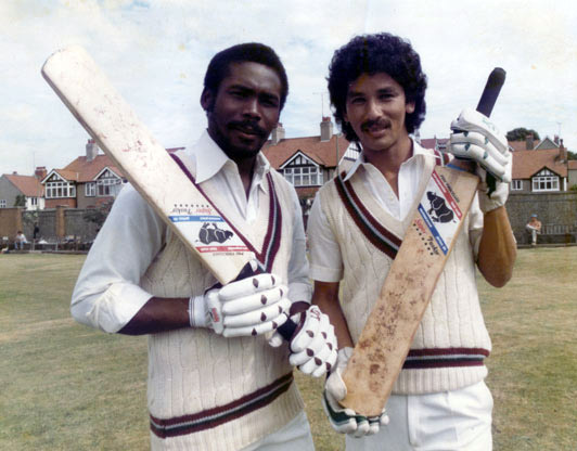 Greenidge with team-mate Larry Gomes.