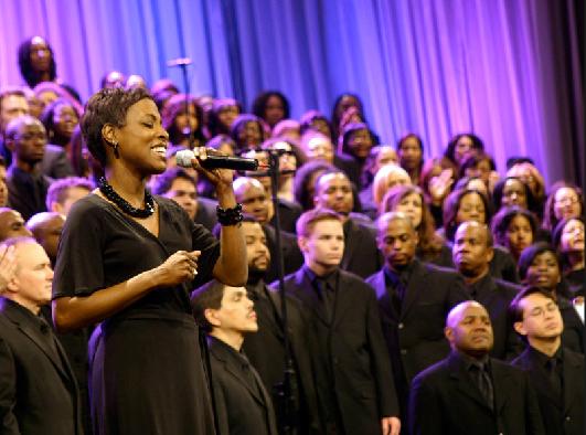 Susan Quintyne performing at the Brooklyn Tabernacle.