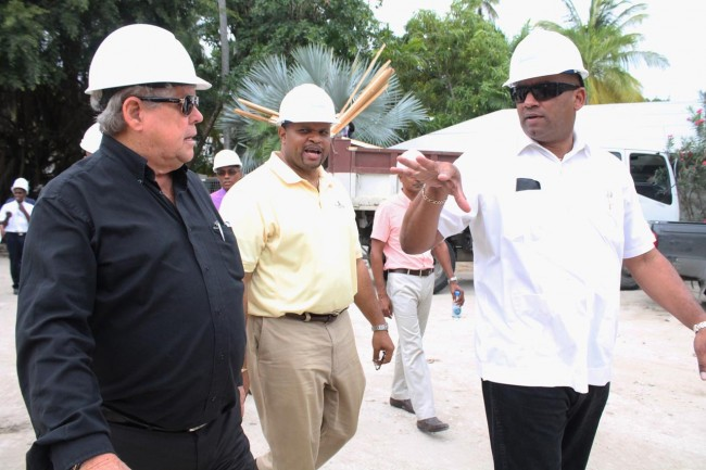 Sandals resort chairman Butch Stewart (left) in conversation with Minister of Finance Chris Sinckler (centre) and Minster of Tourism Richard Sealy during a recent Sandals tour.