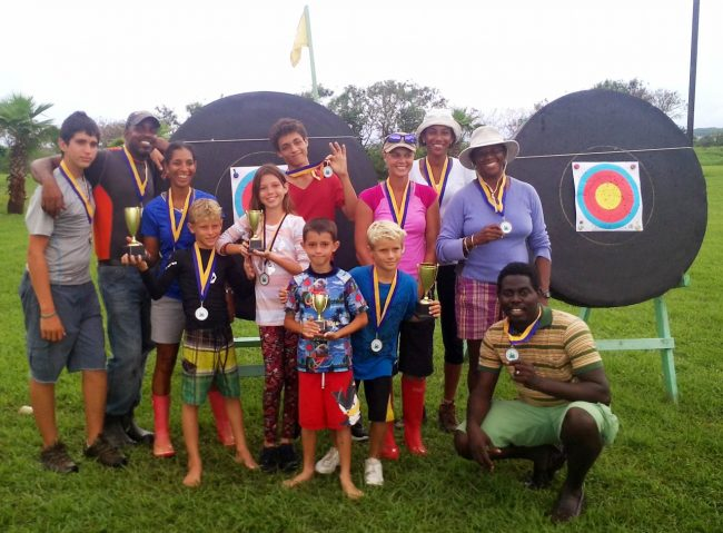 From left, rear, Brandon Fields, Richard Morris, Karen Morris, Luke Stanley, Georgina Lashley, Andrew Caskie, Rebecca Lashley, Purissia Goddard, Cheryl Fitzpatrick-Payne; from left, front, Gabriel Lashley, Erin Lashley and Shane Gibson (squatting).