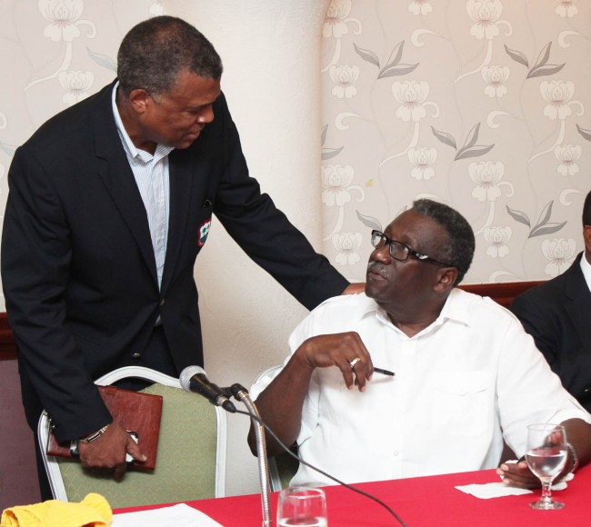 Clive Lloyd (right) in conversation with chief executive officer of the WICB Michael Muirhead at Accra Beach Hotel today.