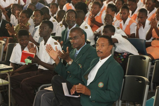 From second left, Principal Jefferson Phillips and chairman of Fedderick Smith secondary Hervert Riefer during at thanksgiving service.