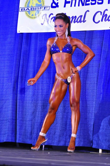 Melissa Burrowes won the bikini fitness title in the under-163cm division.