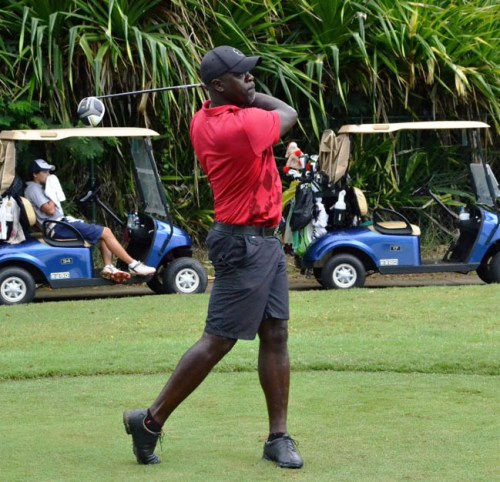 Ottis Gibson might have lost his job with the WICB but he was very much 'in the swing' on the golf course yesterday.