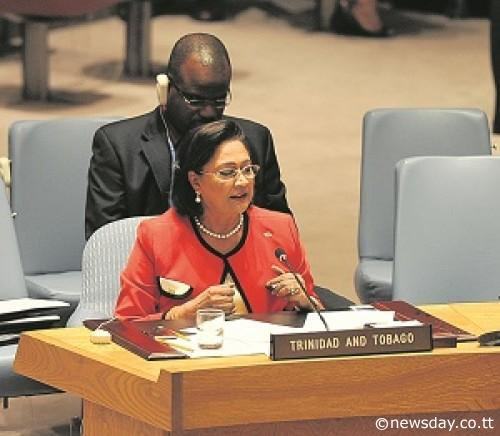 Prime Minister Kamla Persad-Bissessar speaking at the UN Security Council meeting in New York yesterday. Behind the Prime Minister, is Ambassador Eden Charles of the Trinidad and Tobago Permanent Mission to the United Nations.