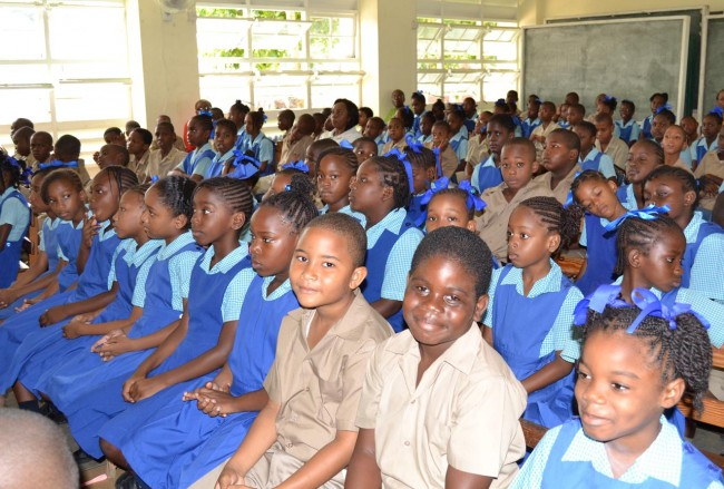 Attentive students of Bay Primary School this morning.