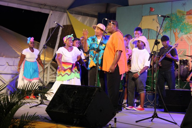 The Community Independence Celebrations launch audience being treated to the folk music of Sing Out Barbados.