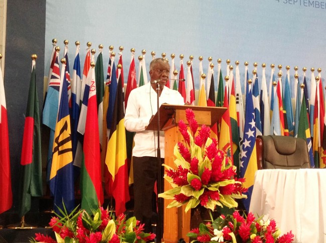 Prime Minister Freundel Stuart addressing a plenary session at the Third International Small Island Developing States Conference in Samoa.