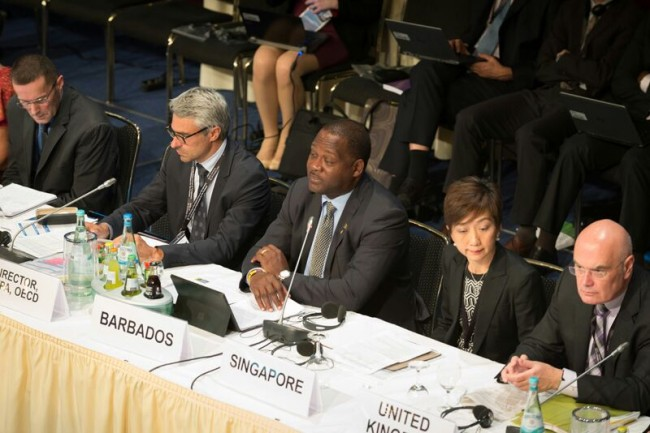 Minister of Industry, International Business, Commerce and Small Business Development, Donville Inniss (centre), participating in the just concluded Seventh Annual Meeting Of The Organization For Economic Cooperation And Development (OECD) in Berlin, Germany.