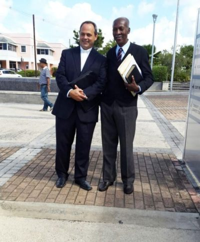 Reverend William St Clair (left) with his lawyer Queen's Counsel Hal Gollop.