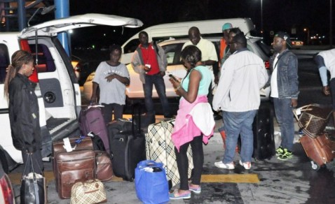 FLASHBACK: Some of the Nigerian students at the Grantley Adams International Airport after arriving in December last year.