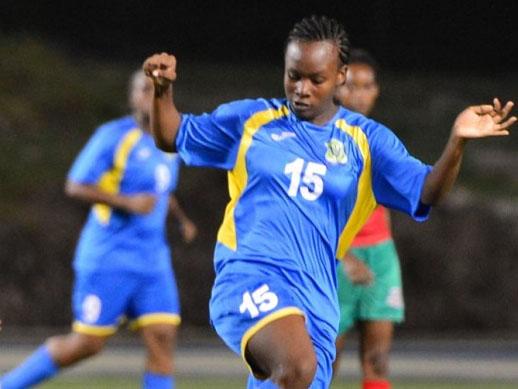 Makala Alleyne scored Barbados' only goal in last night's friendly international.