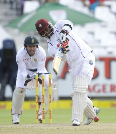Marlon Samuels on the go during his top-score of 74.