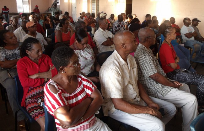 Some of the BLP supporters who came out to hear party leader Mia Mottley.