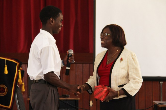 Marston Burgess with ethical leader Mrs Claire Noel-Arthur.
