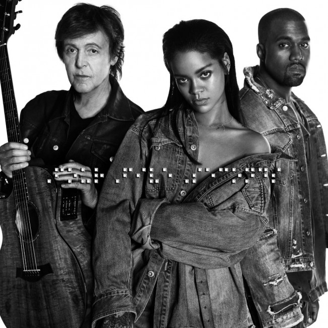 Rihanna's new song features Kanye West (right) and Paul McCartney (left)