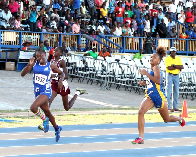 Akayla Morris of The Lodge School equalled the record in the under-15 girls 200m.