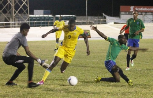 Barbados captain Mario Harte (No. 9) produced a few threatening moments for St Vincent including this play when he out-paced a defender and almost scored.