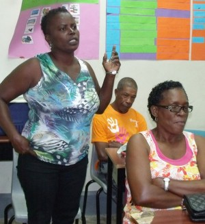 DLP Pine branch member poses a question to Minister of Housing, Denis Kellman.
