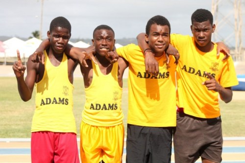 (From left) Dimitri Archer, Romario Cottoy, Tyrique Brathwaite and Maleik Small won the under-15 sprint medley relay for Adams House.