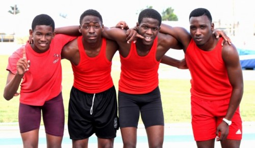 (From left) Jonathan Miller, Christopher Rollins, Zidan Harte and Jevon Hunter all played a major role in winning the senior boys 4x400m relay.