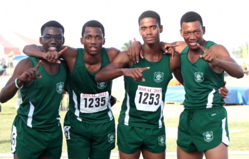 (From left) Rivaldo Leacock, Stephen Griffith, Michael Nicholls and Kevin Briggs won their heat of the male 4x400m relay for Lester Vaughan.